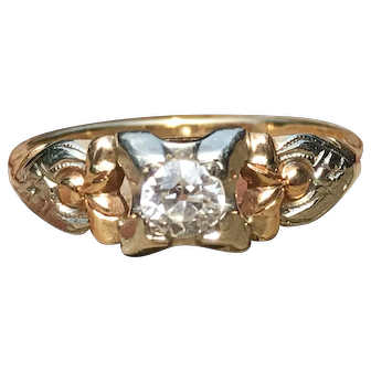 Vintage Art Deco Engagement Ring 1920's 0.25 total Carat Diamond 14k Yellow and White Gold Unique Engagement ring past present future