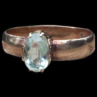 Aquamarine Engagement Ring 1.0 Carat Aquamarine Engagement Ring Victorian Antique Aquamarine Ring 14k Rose gold ring