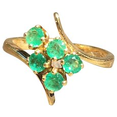 Emerald Ring 18k Emerald Engagement Ring Vintage Columbian Emerald Diamond Half 0.50 cttw Round Emeralds yellow gold