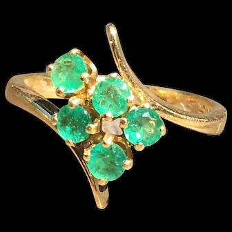 Emerald Ring 18k Emerald Engagement Ring Vintage Columbian Emerald Diamond Half 0.50 cttw Round Emeralds yellow gold