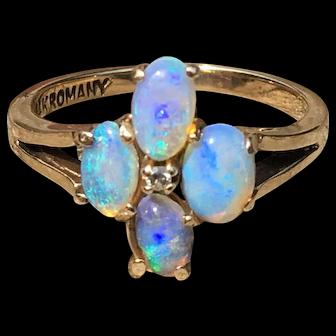 Opal Ring Vintage Opal Romany Engagement Ring Australian Opal 1.0 Cttw Fine Australian Opals 14k yellow gold Opal Engagement Ring