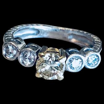 Platinum Diamond Engagement Ring Vintage Engagement Ring Five Diamonds 1.00cttw Diamonds with 0.54 Carat center Diamond.