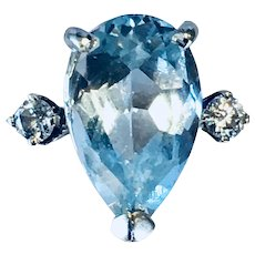Vintage Aquamarine Engagement Ring 3.0 Carat Pear Shape Aquamarine Ring 14k White Gold 0.10 cttw Diamond accents