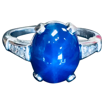 Star Sapphire Ring Vintage Sapphire Engagement ring Blue Star Sapphire 14k White Gold 0.20cttw diamond accents