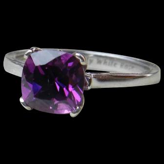 Garnet Engagement Ring 1.87 Carat Grape Purple Bishop Garnet Ring cushion cut Purple Garnet 14k White Gold