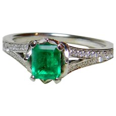 Emerald Engagement Ring Top Gem Quality Natural Columbian Emerald 0.80cttw Diamond Half Carat 0.50 carat Emerald 14k Platinum Ring