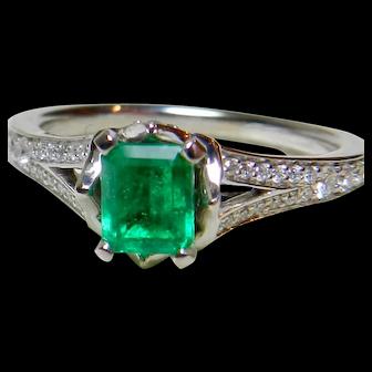 Emerald Engagement Ring Top Gem Quality Natural Columbian Emerald 0.80cttw Diamond Half Carat 0.50 carat Emerald 14k Platinum Ring