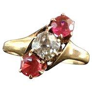 Antique Ruby Ring Victorian Past Present Future 0.60 Carat Old Mine Cut Diamond Ring 0.60 Carat diamond 0.80cttw rubies