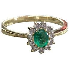 Vintage Emerald Engagement Ring Emerald Ring Natural Columbian Emerald Half Carat Diamond Halo 22k Yellow Gold