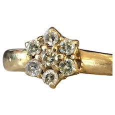Diamond Halo Ring Art Deco Diamond Ring Diamond Cluster ring 14k yellow gold