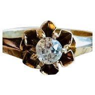 Antique Engagement Ring 0.25 Carat Old Mine Cut Diamond Engagement Ring yellow gold Victorian