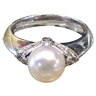 Vintage Pearl Engagement Ring 0.12 cttw Diamond 8mm Cultured Akoya Pearl Ring 14k white gold