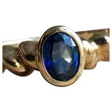 Sapphire Ring Vintage Engagement Ring Genuine 0.50 Carat Natural Ceylon Sapphire 14K Yellow Gold Ring