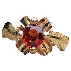 Vintage Art Deco Engagement Ring Mandarin Garnet ring Spessertine Garnet set 18k yellow Gold
