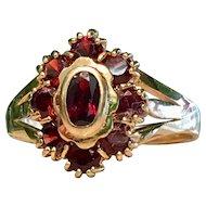 Antique Garnet engagement ring Bohemian Garnet ring set in 18k yellow Gold