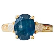 Sapphire Engagement Ring Vintage Sapphire Ring Past Present Future 0.20cttw Diamonds set in 14k Yellow Gold Beautiful!