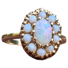 Vintage Opal Engagement Ring Opal Halo Ring 10k yellow gold setting Australian Opal cluster ring Unique Engagement