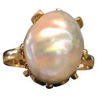 Antique Pearl Engagement Ring Art Nouveau Victorian Pearl Engagement Ring Baroque Pearl 18k yellow Gold Art Nouveau Setting