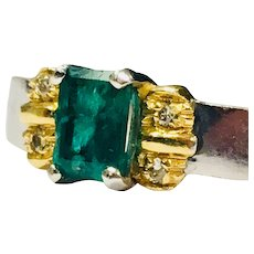 Columbian Emerald Ring Top Gem Quality Natural Columbian Emerald 0.75 carat Emerald 18k White Gold Designer Ring Diamond Accents