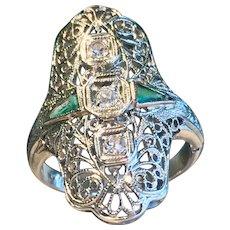 Art Deco Engagement ring Vintage 1920's 0.25cttw Old European Cut Diamonds 18k Filigree Ring Past Present Future 0.08cttw Emeralds