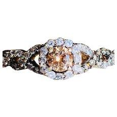 Champagne Diamond Engagement Ring 1.0cttw Diamonds 14k Yellow Gold