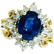 Sapphire Ring Diamond Halo Sapphire Engagement Ring 1.50 Carat Natural Sapphire 0.50cttw Diamonds 14k Yellow Gold Unique Engagement