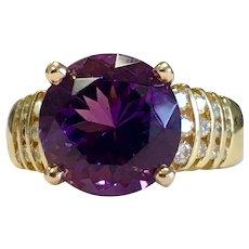 Tanzanite Ring Vintage Tanzanite Engagement Ring 18k yellow gold 5.0 Carat Natural Tanzanite 0.24cttw Diamonds