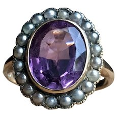 Vintage Amethyst Ring Seed Pearl Halo Engagement Ring 4.0 carat Amethyst 14k yellow gold ring