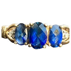 Natural Sapphire Ring Royal Blue Sapphires 1.00cttw Past, Present, Future Ring 10k yellow Gold  Diamond accents