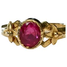 Vintage Ruby Engagement Ring Art Deco Ring 1.0 Carat Natural Ruby 22k yellow gold July Birthday birthstone