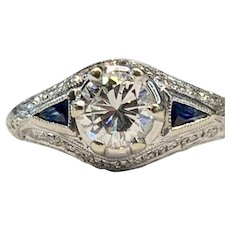 Art Deco Engagement Ring 0.87cttw Old European Cut Diamond with Sapphire Accents in 14k white gold vintage Setting