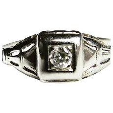 Art Deco Ring Vintage Engagement Ring Desirable Transitional Cut Diamond Art Deco Engagement Ring 14k White Gold