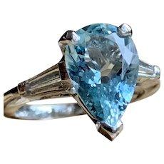 Aquamarine Engagement Ring 4.32 Carat Natural Aquamarine Ring Vintage Art Deco Platinum ring 0.12cttw Diamond baguettes statement ring