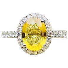 Yellow Sapphire Engagement Ring Natural Yellow Sapphire Engagement Ring 1.5 Carat Ceylon Sapphire Diamond Halo 18k white gold