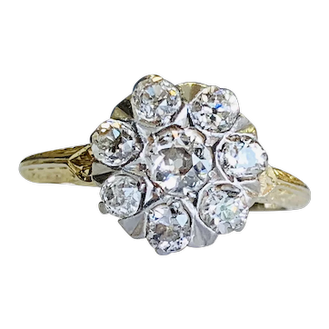 Art Deco Ring Antique Diamond halo 1.0 total carats Old European Cut Diamond Engagement Ring 1920's Diamond Ring 14k Gold ring