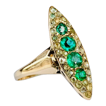 Antique Emerald Engagement Ring Natural Columbian Emeralds old mine cut diamond halo Yellow Gold circa mid 1800s Georgian Era