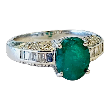 Emerald Engagement Ring Natural 1.50 carat Columbian Emerald Ring 0.35cttw Diamond accents 18k white gold Ring