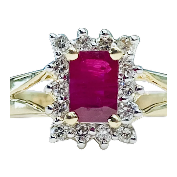 Ruby Engagement Ring Vintage Ruby Ring 0.75 Carat Natural Ruby 14k solid yellow gold diamond halo July birthstone