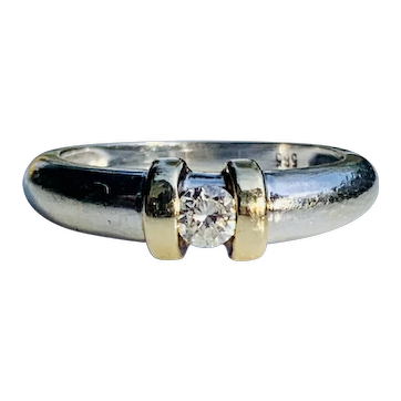 Vintage Engagement Ring Bezel set Diamond Engagement ring 0.16 Carats Round brilliant in  setting in 14k White Gold