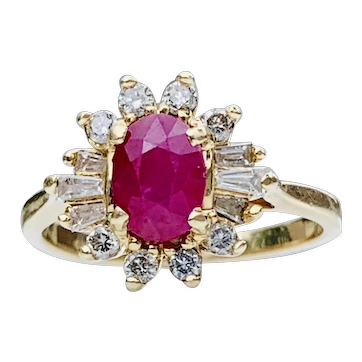 Ruby Engagement Ring Diamond Halo 1.0 Carat Natural Ruby 0.38cttw Diamond Ring Ballerina setting 14k Yellow Gold Unique Engagement