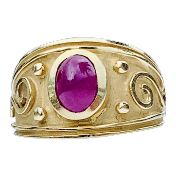 Natural Ruby Etruscan Style Ring, Byzantine Ring, 14k solid yellow Gold band vintage