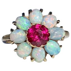 Art Deco Opal Ring Vintage Engagement Ring 1.25 Carat Natural Rhodolite Garnet with eight natural Australian Opal Halo 14k Yellow gold ring