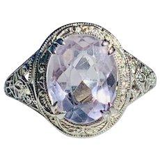 Art Deco Amethyst Ring Edwardian style Engagement Ring 2.0 carat natural Amethyst 18k white gold filigree stetting
