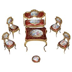 Miniature Venetian Bronze and Hand Painted Enameled Parlor Set