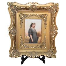 "KPM Style Porcelain Plaque of ""Ruth""-Painted and Signed by Wagner and stamped ""HR""107"