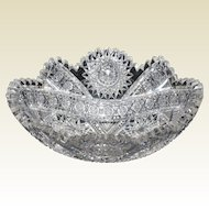 American Brilliant Period Oval Cut Glass Bowl