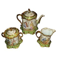Hand Painted Dresden Sugar and Creamer on Meissen Body by Ambrosius Lamm - the Gold Rose covering the Original Meissen Mark