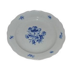 Blue Flowers and Insects Plate Marked Meissen