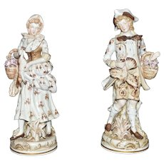 ON SALE Hand Painted Porcelain Lady & Gentleman Hunting Dresden