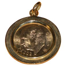 1959 Gold Diez Peso Coin Mounted in Gold Bezel